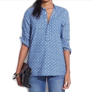 Madewell Chambray Floral Stamp Popover Top